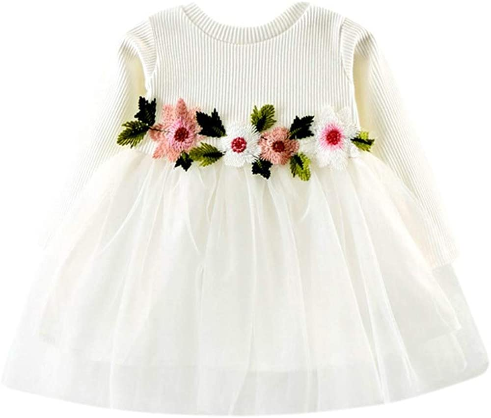INLLADDY Kleidung Kleider Baby M/ädchen Langarm Bl/ütenbl/ätter Taufkleid Spitzen Partykleid Blumenm/ädchen Kleid Geburtstag Kleider Outfits Festlich