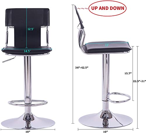 Sidanli Black Adjustable Swivel Counter Bar Stool Chairs with Back Set of 2