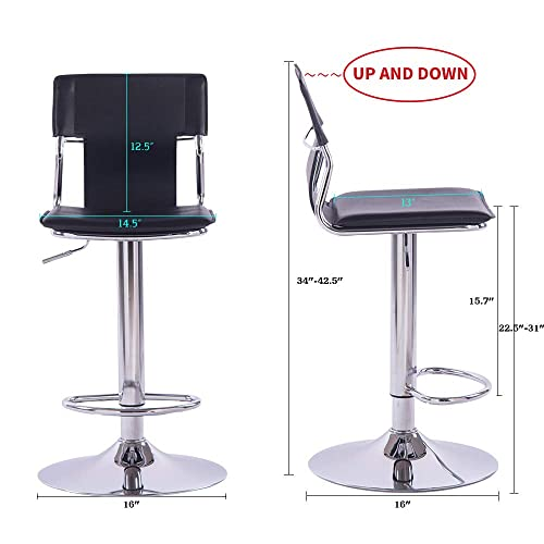 Sidanli Black Adjustable Swivel Counter Bar Stool Chair