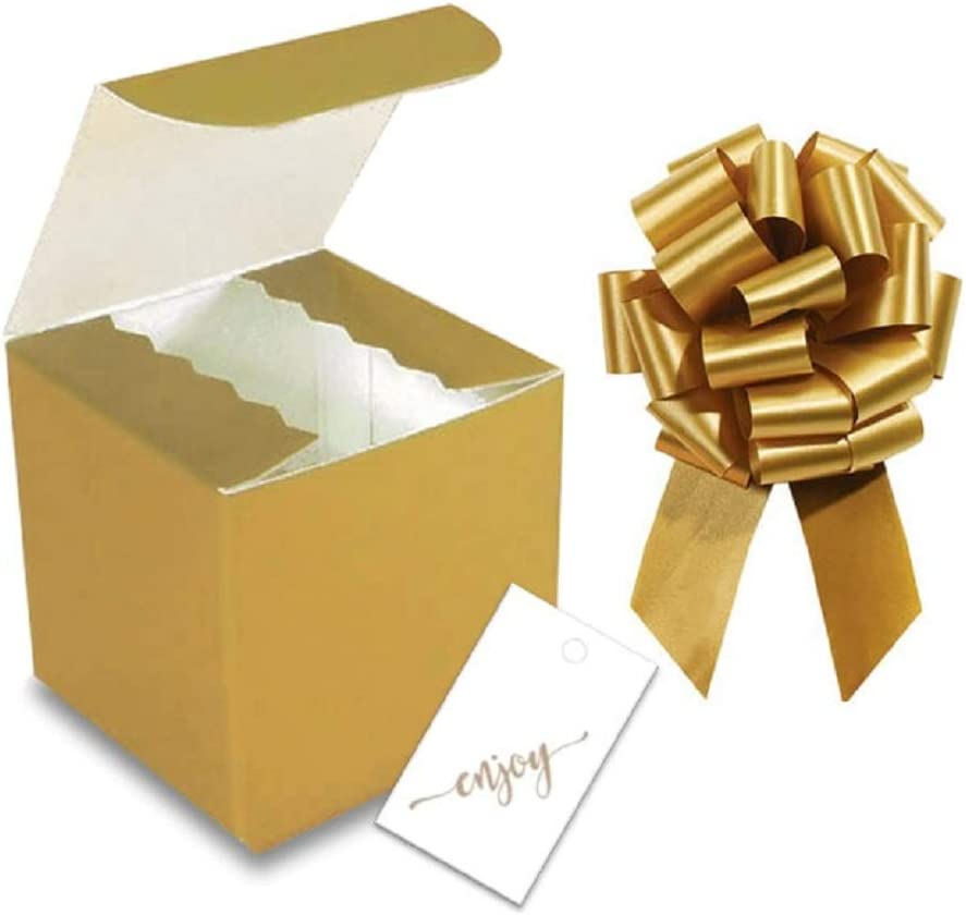 Gold Satin Pull Bows with Hang Tags Gold 4x4 Glossy Tuck Top Boxes 12 Sets