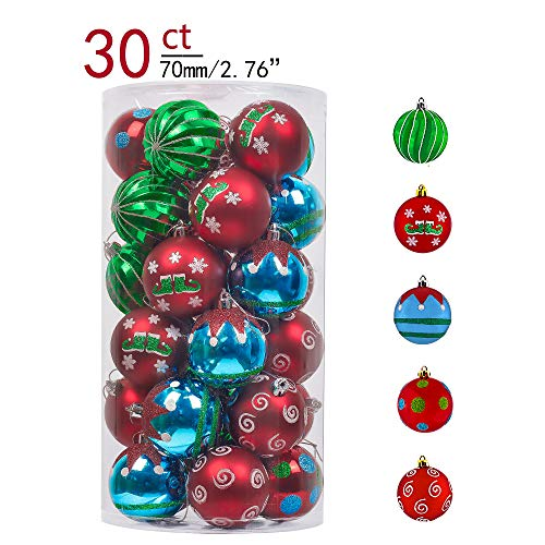 Teresas Collections 30ct 70mm Joyful Elf Shatterproof Christmas Ball Ornaments Decoration,Themed with Tree Skirt(Not Included)