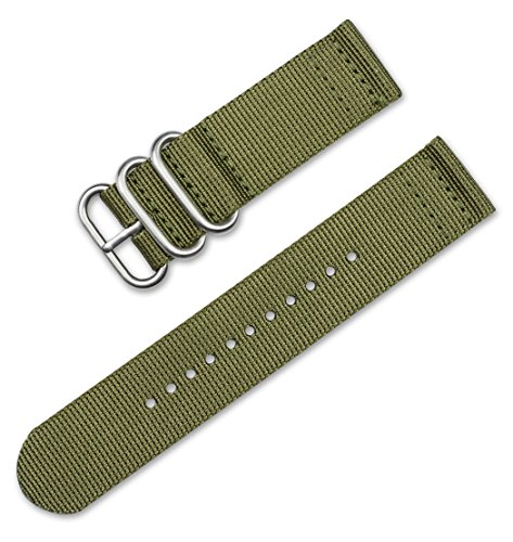 18mm Military RAF Style Ballistic Nylon 2-Piece Watch Band - Olive
