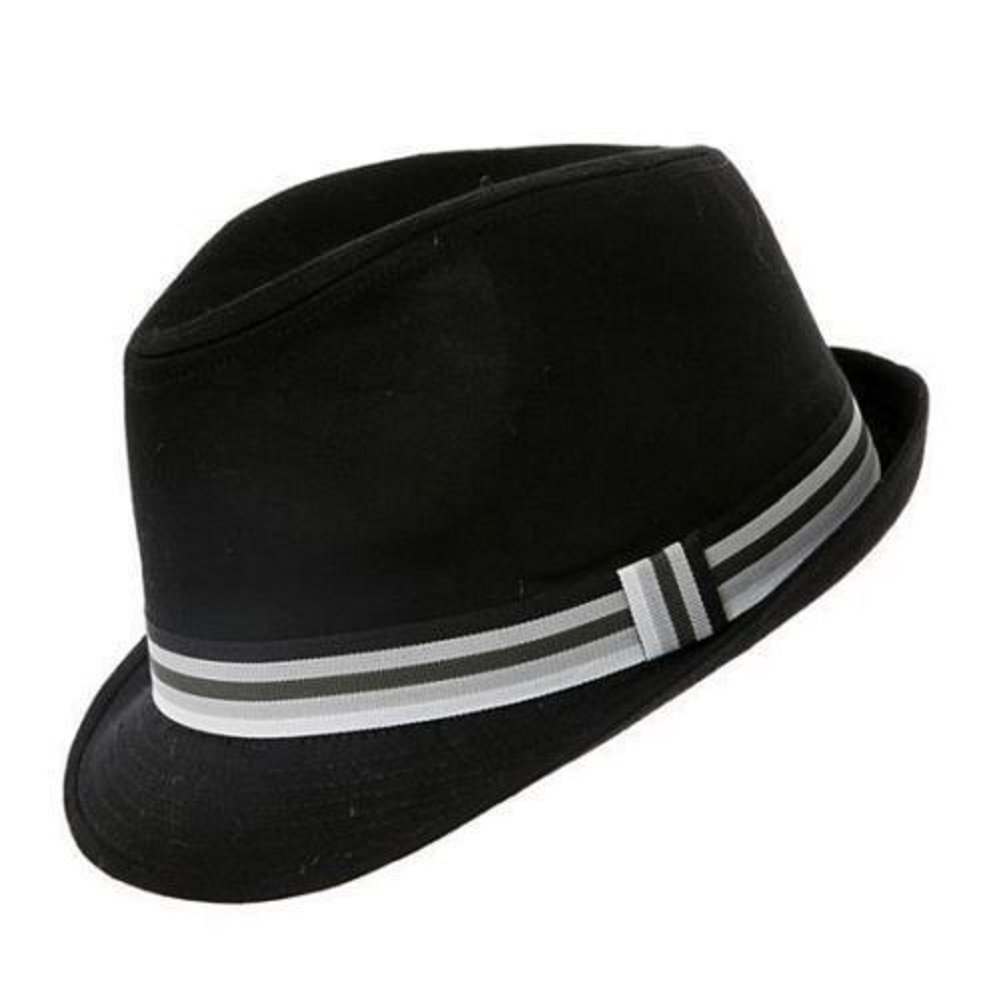 Hawkins plain black cotton trilby hat