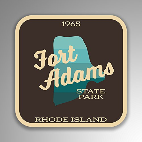 (JMM Industries Fort Adams State Park Rhode Island Vinyl Decal Sticker Retro Vintage Look 2-Pack 4-inches by 4-inches Premium Quality UV Protective Laminate SPS449)