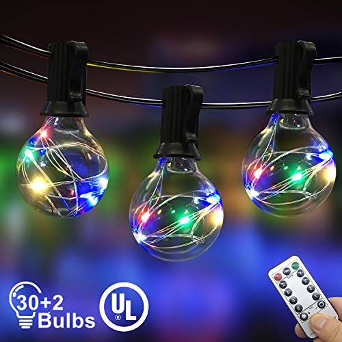 IELECMG Outdoor String Light, 32.8FT 30Pcs Linkable Patio Lights Dimmable G40 Globe Led String Lights with Remote Control UL Waterproof Backyard Lights for Bistro Garden Wedding Christmas Decoration -