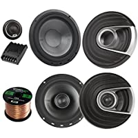 2x Polk Audio MM MM652 Series Ultra Marine Certified 6.5 2 Way Coaxial Car / Boat Speakers, 2x MM6502 375W Marine 6.5 Component Speaker System, Enrock Audio 16-Gauge 50 Foot Speaker Wire