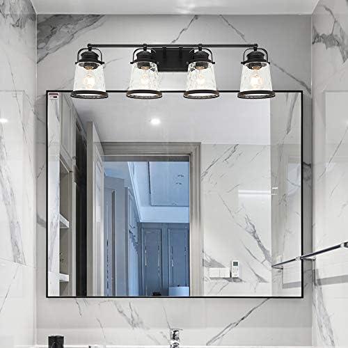 Lucidce Farmhouse Bath Vanity Light 4 Heads Black Wall Sconces