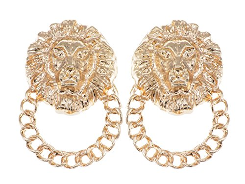 Pin Lion Head (Alilang Golden Tone Venetian Etched Lion King Heads Chain Hoop Stud Dangle Earrings)