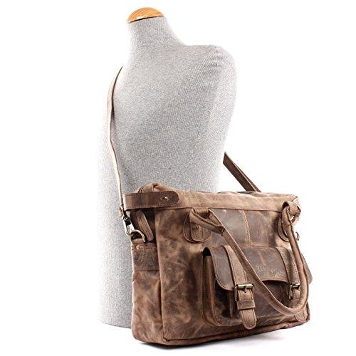 bandoulière main Cuir 38x29x11cm main sac Leconi aspect Vintage en à à cuir Dames LE0050 Femmes pour dames à naturel Sac Cuir boue cireuse Sac véritable Sac Sac fg1wqB7