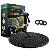 Expandable Garden Hose --Liwiner 50 FT Flexible & Lightweight Retractable Water Hose with 8 Function Spray Nozzle /Leakproof Brass Fittings /Anti-Burst Extra Strength Fabric Expanding Hose For Washing Car /lawn/Floor/Window (Black)