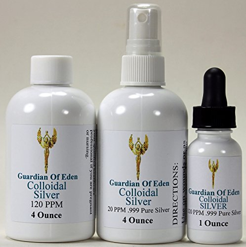 GOE 4 Fl Oz 120ppm Colloidal Silver & 4 Fl Oz 20ppm Colloidal Silver Spray Bottle + FREE 1 Oz 120ppm Colloidal Silver FILLED dropper bottle!