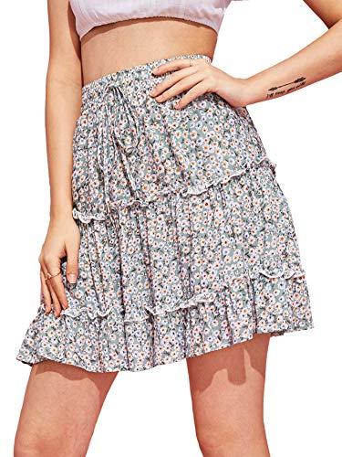 SheIn Women's Summer Boho Floral Print Striped A Line Waist Elastic Short -