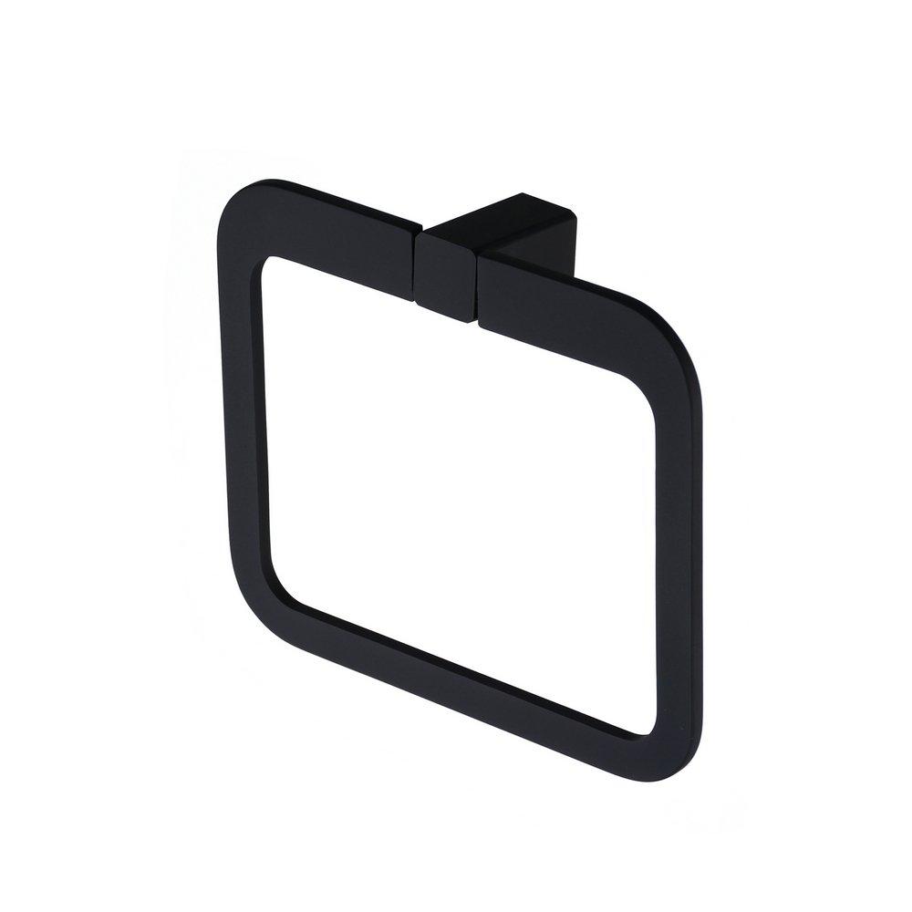 Anello porta asciugamani quadrata in metallo nero per il bagno, asciugamano anello Kelelife Heqisheng