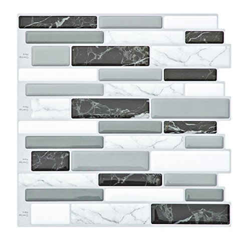 Decorative Wall Textures - Peel and Stick Tile Backsplash for Kitchen Bathroom,Kitchen Backsplash Peel and Stick,Gray Mosaic Tile Backsplash,3D Decorative Wall Stickers(4 Tiles)