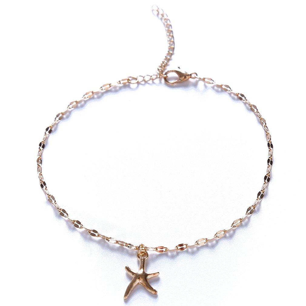 Timetries Simple Femmes Or É toile Pendentif Bracelet Cheville Bijoux Pieds Plage Cheville Bracelet mei_mei9
