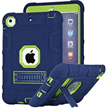 iPad Mini 2 Case, iPad Mini 3 Case, iPad Mini Case, Asstar [Kickstand Feature] 3in1 Hybrid Hard PC Soft Silicone [Kids Friendly] Shockproof High Impact Combo Defender for iPad Mini 1/2/3 (Navy Green)