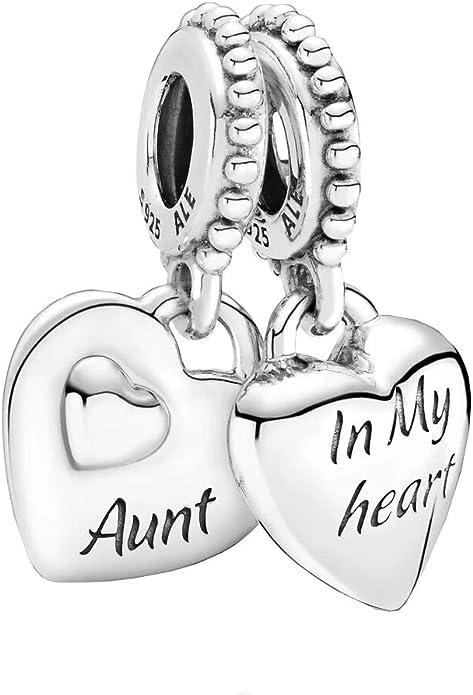 925 Sterling Silver Aunt /& Niece Split Heart Dangle Charm