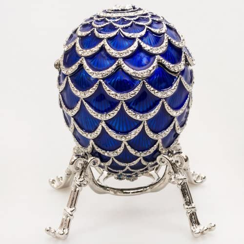 Swarovski Crystals Pine Cone w Elephant Surprise Blue Faberge Style Egg Box Figurine Limited Edition Collectible Faberge Reproduction
