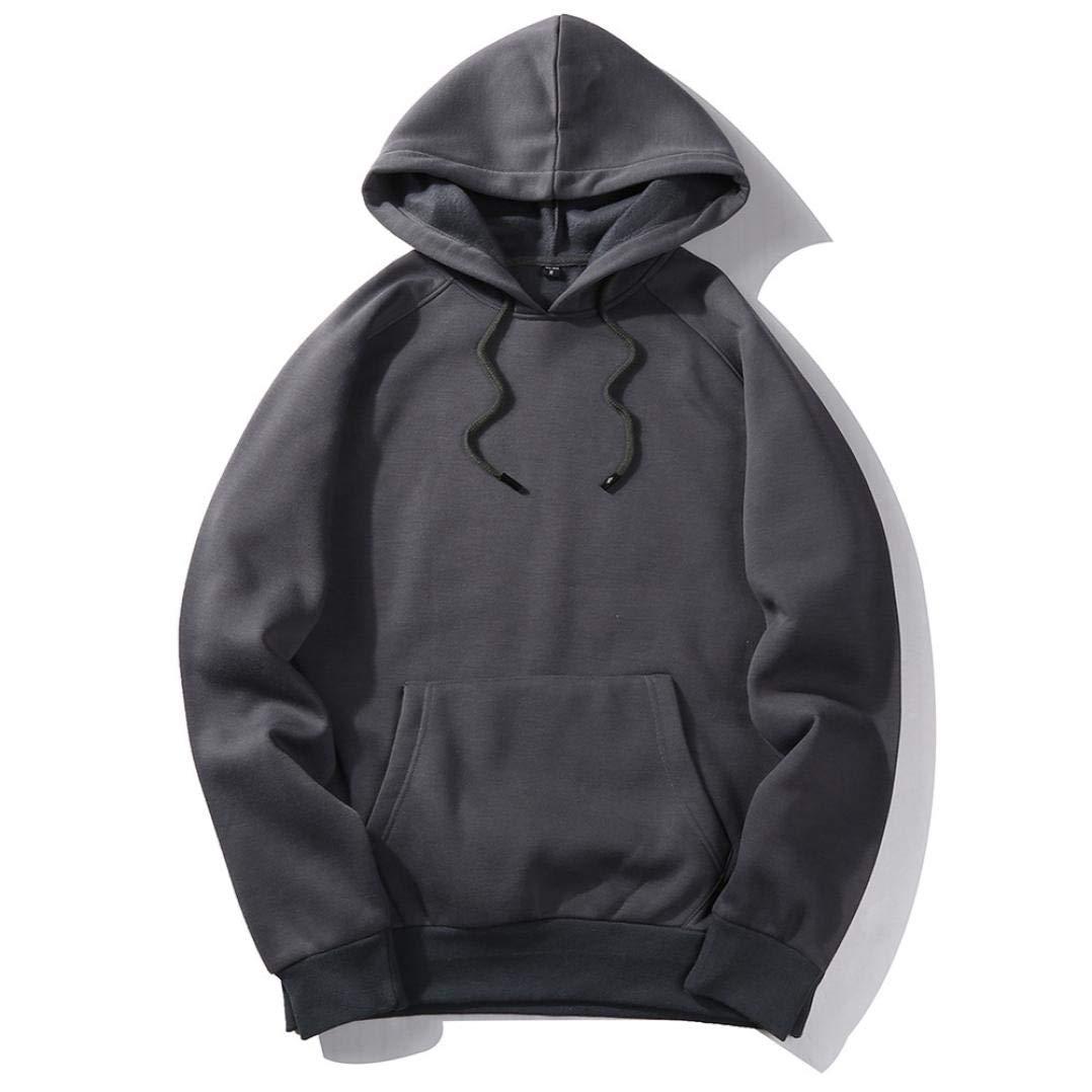 Men's Autumn Casual Solid Hip PopLoose Fleece Hoodie Long Sleeve Pullover Hoodie Top Sweatshirts (Dark Gray, L)