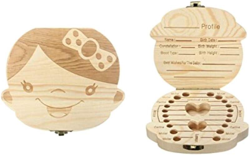 JZK Caja de Dientes de Leche Madera cajita de Almacenamiento de Dientes de Leche para niños bebé Bautizo cumpleaños Regalo: Amazon.es: Juguetes y juegos