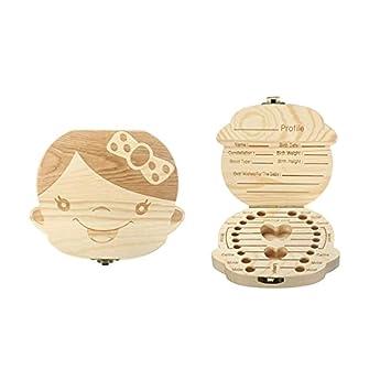 JZK Bebé dientes caja madera personalizado niños bebé dientes ...