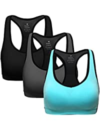 Women Racerback Sports Bras - High Impact Workout Gym Activewear Bra Pack of 3
