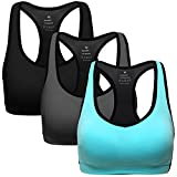 Cheap MIRITY Women Racerback Sports Bras – High Impact Workout Gym Activewear Bra Pack of 3 Color Black Grey Blue Size L