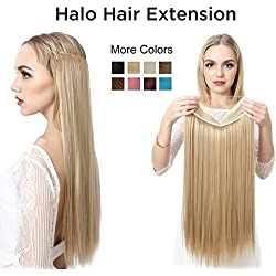 "SARLA 22"" Synthetic Straight Halo Hair Extension Natural Invisible Wire Flip Hairpieces No Clip No Glue No Tape M02(#60 platinum blonde)"