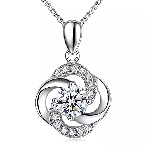4 Four Leaf Clover Pendant (925 Sterling Silver Cubic Zirconia Four leaf clover Pendant Necklace)