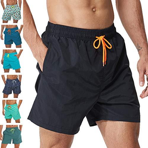 Vogyal Men's Swim Trunks Quick Dry Bathing Suit Beach Shorts with Mesh Lining,Black,US M