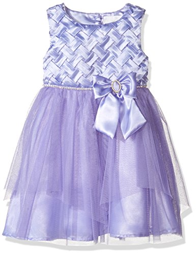 Rare Editions Little Girls' Basket Weave Special Occasion Dress, Lavender, 7