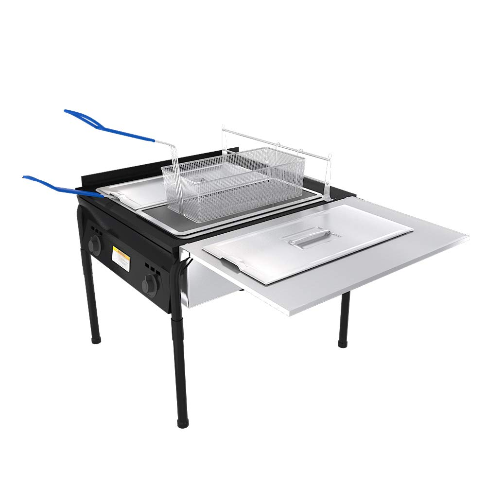 Lodhi's Heavy Duty Taco Cart Two Tank Double Deep Fryer Compatible with Propane Gas Tanks, with 2 Baskets & Stainless Steel Oil Tank by Lodhi's (Image #3)