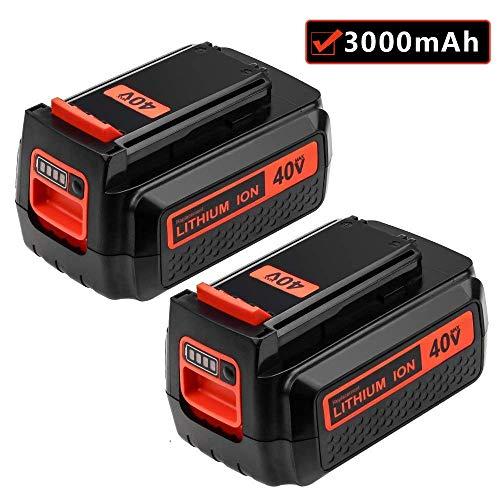 3000mAh Battery for Black and Decker 40v Lithium, Replacement Black & Decker 40 Volt MAX LBXR2036 LBX2040 LBX36 LBXR36 Battery (2 Packs)