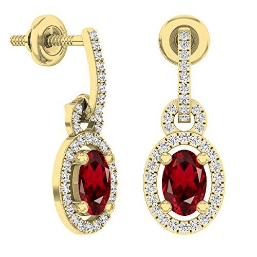 (Dazzlingrock Collection 18K 6X4 MM Oval Garnet & Round White Diamond Ladies Dangling Drop Earrings, Yellow Gold)