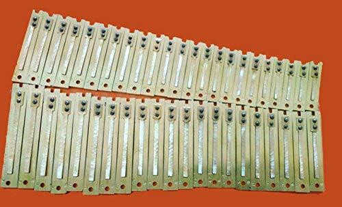 NARROW TONGUE 44-PIECE REED PREMIUM HARP REED SET FOR INDIAN HARMONIUM. MALE/BASS / FEMALE. FOR PUNJABI HARMONIUMS (Bass)