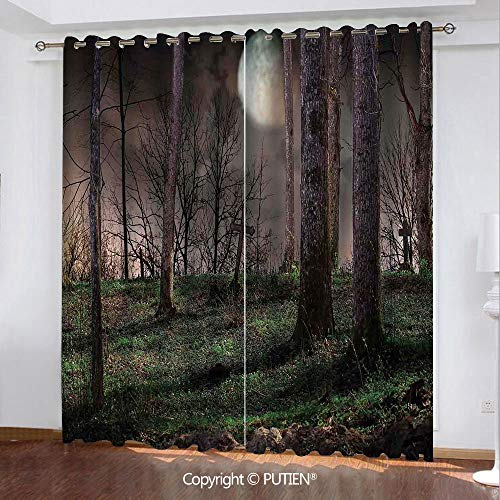 Satin Grommet Window Curtains Drapes [ Gothic,Dark Night in the Forest with Full Moon Horror Theme Grunge Style Halloween,Brown Green Yellow ] Window Curtain for Living Room Bedroom Dorm Room Classroo -