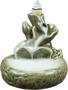 Ceramic Incense Burner Handmade Aromatherapy Backflow Incense Holder Waterfall Backflow Incense Burner Home Decoration Handicraft Gift with 10 Free Cones