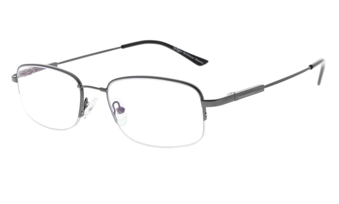 c47656a152f795 Eyekepper Lunettes de vue demi-cerclee Progressive 3 niveau vision Anti UV  lunettes loupe lunettes de lecture souple homme femme (Gunmetal, ...