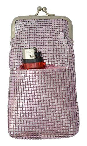 Cigarette Sequin Holder - New Design Sequin Cigarette Soft Mesh 100s 120 S Cigarette Case with Lighter Pocket By Marshal (Pink)