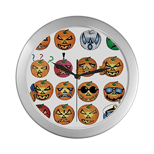 C COABALLA Halloween Decorations Simple Silver Color Wall Clock,Carved Pumpkin with Emoji Faces Halloween Humor Hipster Monsters Art for Home Office,9.65