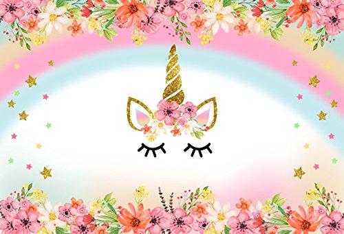 Leyiyi 7x5ft Photography Background Fairy Tale Unicorn Backdrop 3D Flowers Rainbow Glitter Horn Enchanted Unicornio Twinkle Stars Cake Kids Birthday Party Baby Shower Photo Portrait Vinyl Studio Prop -