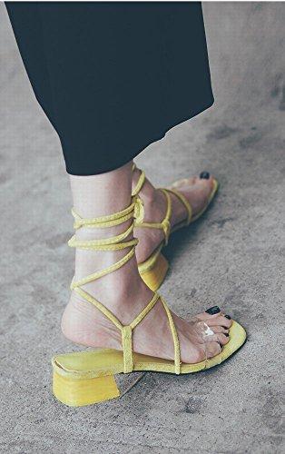 Chaussures Jaune Mode Romaines des Épais 35 Sexy de avec Chaussures DIDIDD wUFqaU