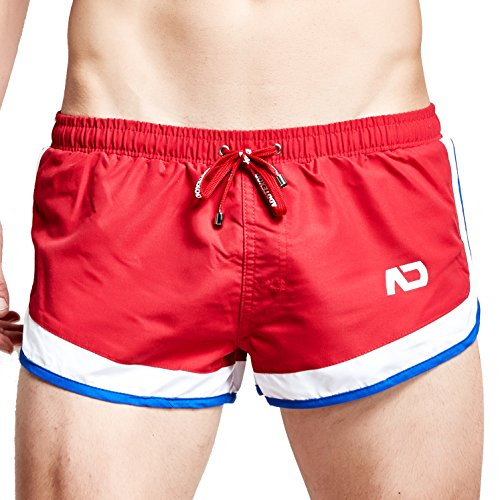 Funycell Men's Swim Trunks Beach Shorts with Pocket Red US S