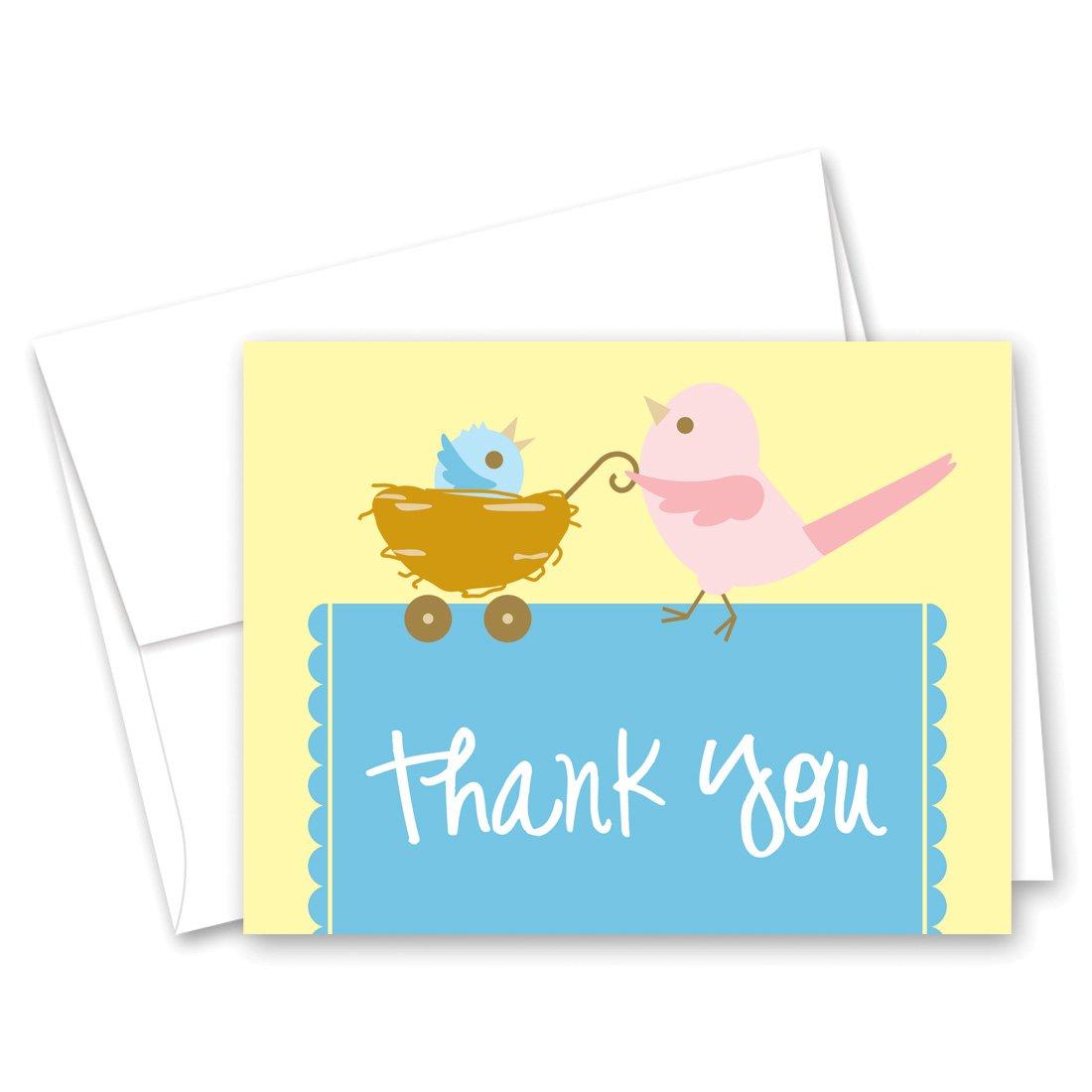 50 Cnt Cute Mama Bird Boy Baby Shower Thank You Cards