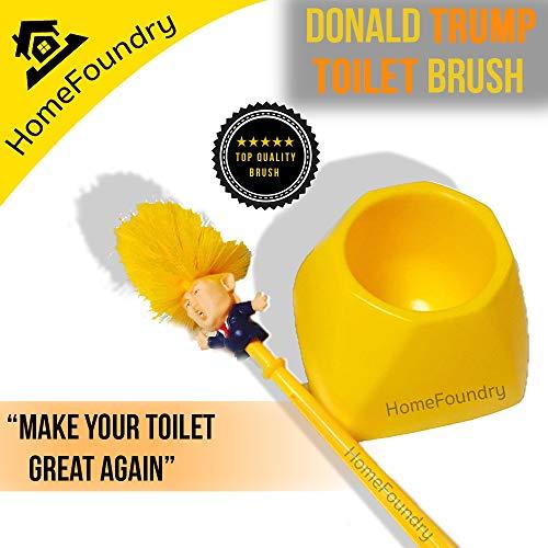 Yellow Donald Trump Toilet Brush Funny Political Gag Novelty Item Brush Set