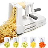 Spiralizer 5-Blade Spiral Slicer,SURPEER Vegetable Spaghetti Maker Heavy Duty 420 Stainless Steel,Spiralizers Handheld Good Grip for Low Carb/Gluten Free Meals-Potato/Veggie Pasta/Zucchini Noodle,Easy to Clean,Store with Extra Blade Caddy & Brush,Free BPA,White