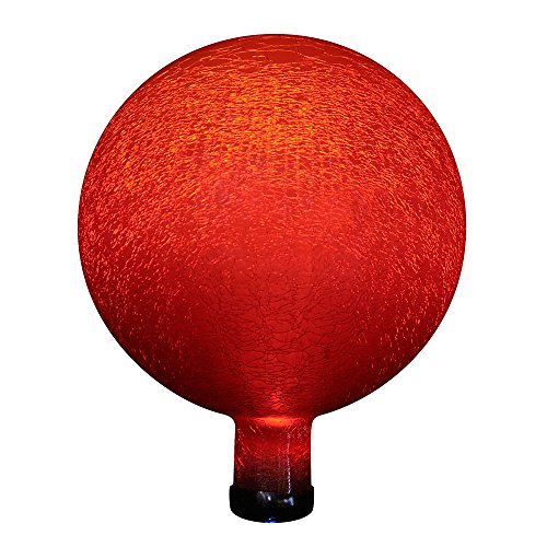 Achla Designs G10-RD-F Solar Powered Colored Glass Globe Light Outdoor Decor for Garden, Red -