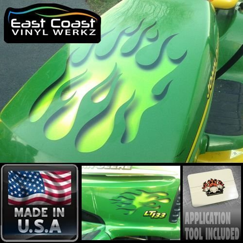 Tractor Decal Set - Sour Apple green Flame decal set for ride on Lawn Mower garden tractor Hotrod John Deere