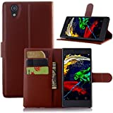 Ziaon Super Series High Quality PU Leather Flip Stand Wallet Case for Lenovo P70- Brown