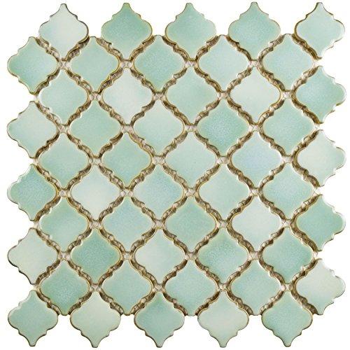 Green Glazed Porcelain - SomerTile FKOLTR32 Tinge Porcelain Mosaic Floor and Wall Tile, 12.37